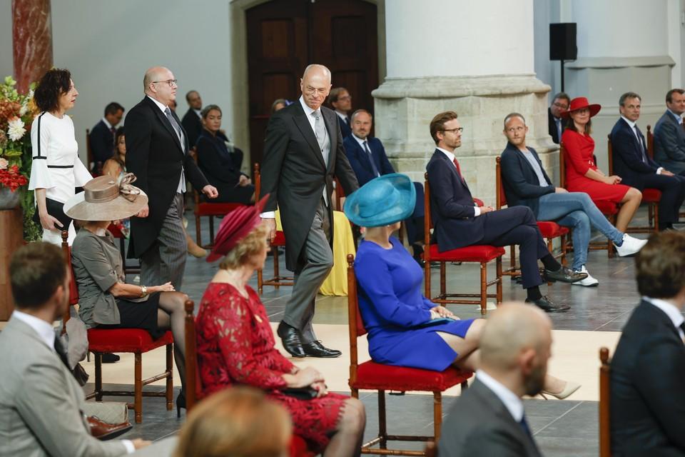 Voorzitter van de Eerste Kamer Jan Anthonie Bruijn voorafgaand aan de opening op Prinsjesdag van de Verenigde Vergadering van de Staten-Generaal in de Grote of Sint-Jacobskerk.