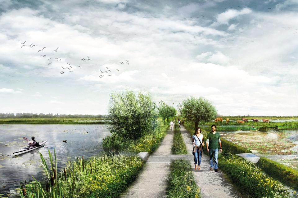 Voorbeeld uit 'Verbonden toekomst' van hoe het Noord-Hollands veenweidegebied er bij vergaande vernatting uit gaat zien.