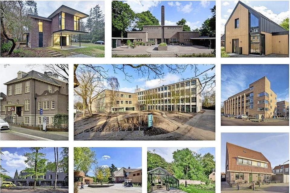 De tien genomineerde gebouwen in willekeurige volgorde.