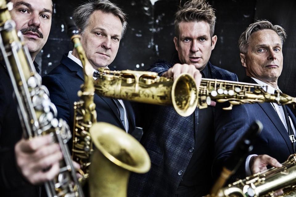 Artvark Saxophone Quartet, v.l.n.r Mete Erker (tenor), Rolf Delfos en Bart Wirtz (alt), Peter Broekhuizen (bariton).