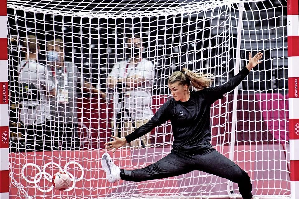 Tess Wester tijdens de training in Het Yoyogi Stadium in Tokio.