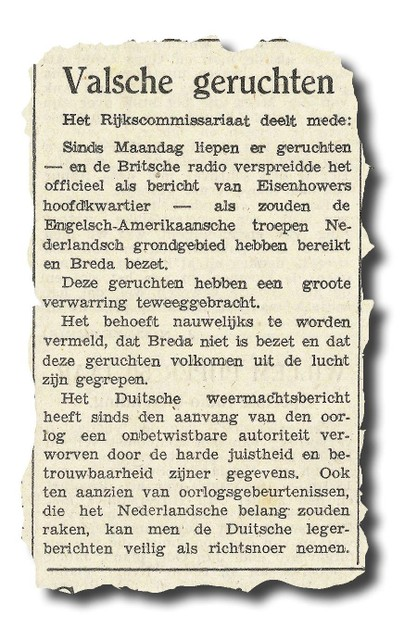 Een bericht in Algemeen Handelsblad van 6 september 1944 waarin de bezetter ontkent dat de geallieerden Breda hebben ingenomen.