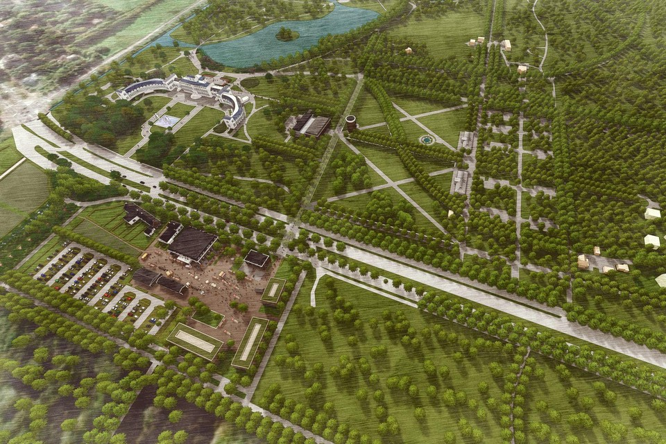 Links onder de 'Parade', waar 120 hotelkamers zijn gepland. Rechts de geplande villawijk, waarvoor flink wat bos zal moeten verdwijnen.