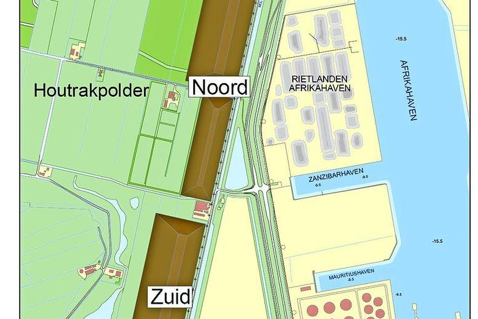 Zo dicht ligt de haven van Amsterdam al bij de Houtrakpolder. De gebieden noord en zuid zijn 'het groene schip', een depot van vervuilde grond dat moet voorkomen dat de haven de gemeentegrens van Haarlemmermeer oversteekt.