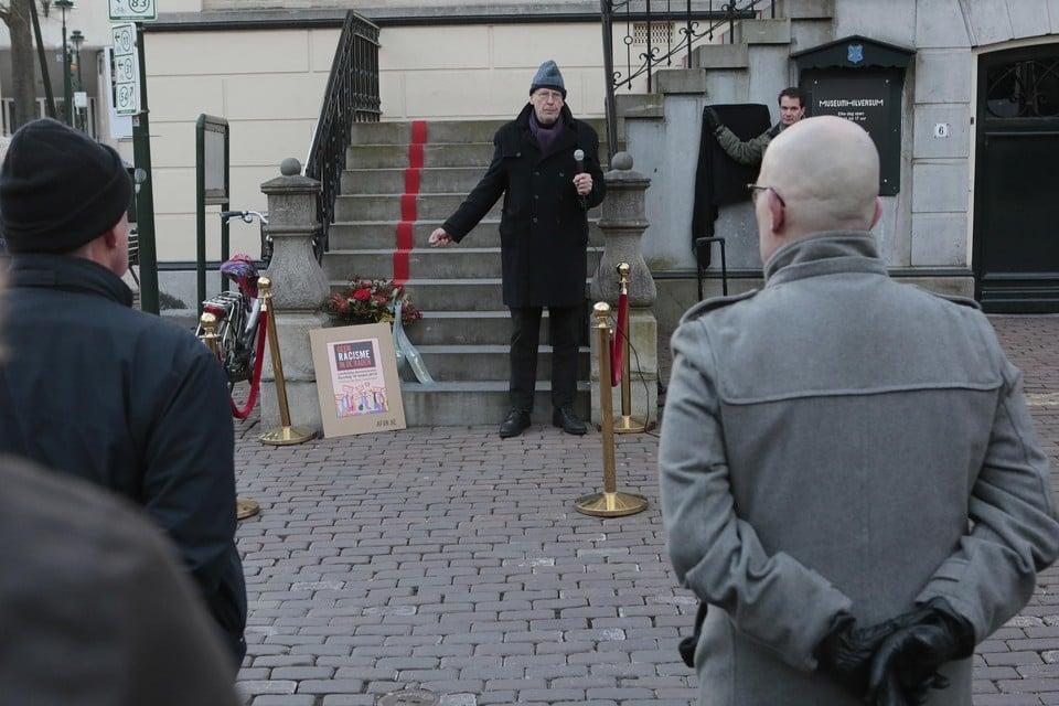 Arthur Graaff aan het woord tijdens de laatste herdenking van de Februaristaking in Hilversum.