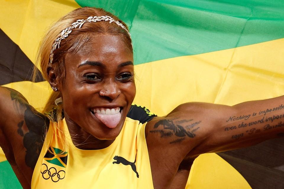 Elaine Thompson-Herah, winnares van het goud op de 100 meter.