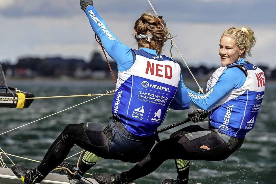 Odile van Aanholt (rechts) liep met haar partner Marieke Jongens plaatsing voor de Olympische Spelen nipt mis.