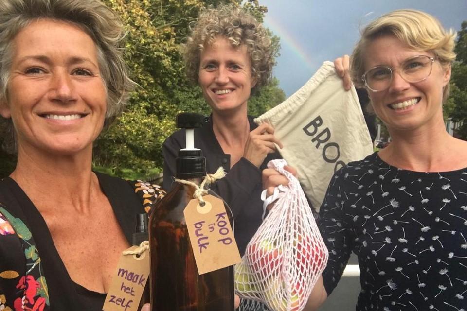 Nanda, Daphne en Petra van de Alkmaarse zero waste tour.