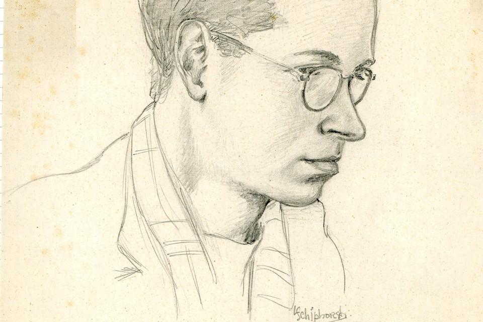 Portrettekening van Bob Calisch door medegijzelaar L. Schiphorst.