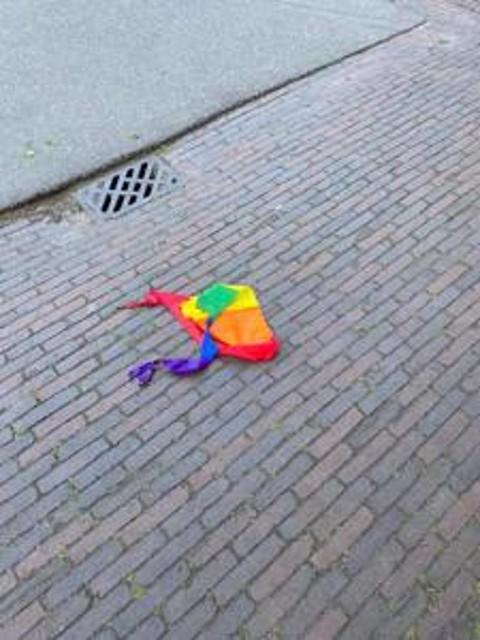 Vernielde regenboogvlag.