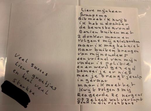 Anoniem briefje naar aanleiding van de dood van Dascha Graafsma.