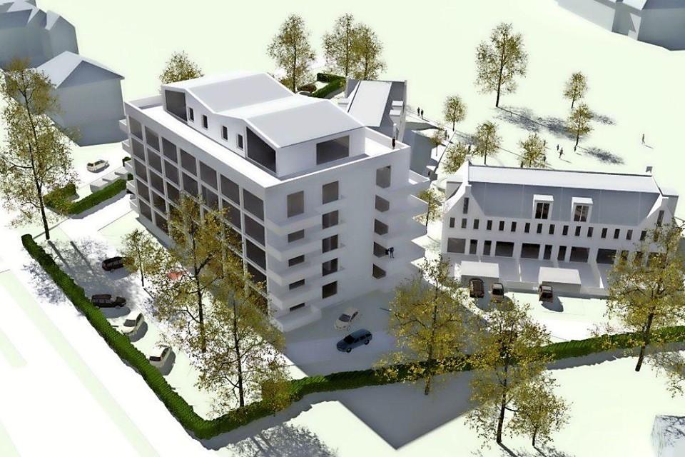 Een voorlopig ontwerp van de appartementen en woningen, gezien vanaf de Amersfoortsestraatweg (links onder).