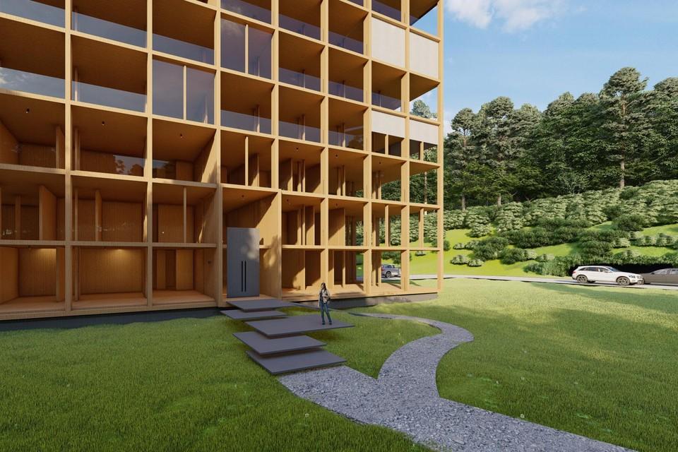 Artist impression van het wooncomplex Tree House The Luxx aan de Driftweg in Naarden