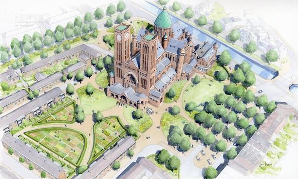 Groene wandeling rond de kathedraal in Haarlem: nog geen zekerheid of kerktuin bij stadspark komt