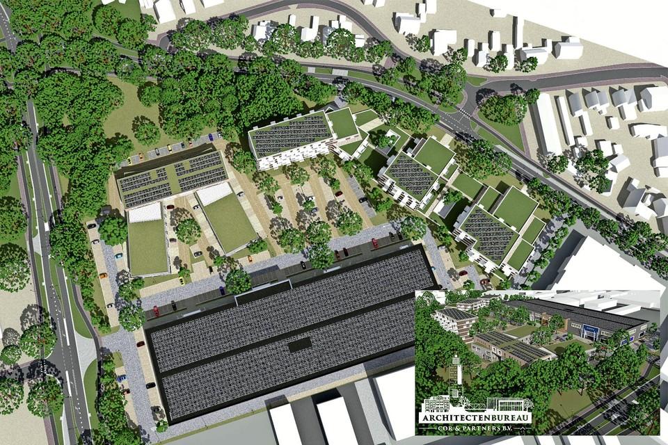 Een schetsontwerp van hoe het TBS-terrein eruit zou kunnen gaan zien. Onder de grote detailhandelvestigingen, rechtsboven woningen.