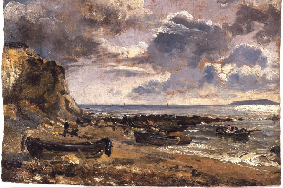 John Constable (1776-1837), Het strand bij Osmington Mills, 1816, olieverf op doek. Collectie David Thomson.