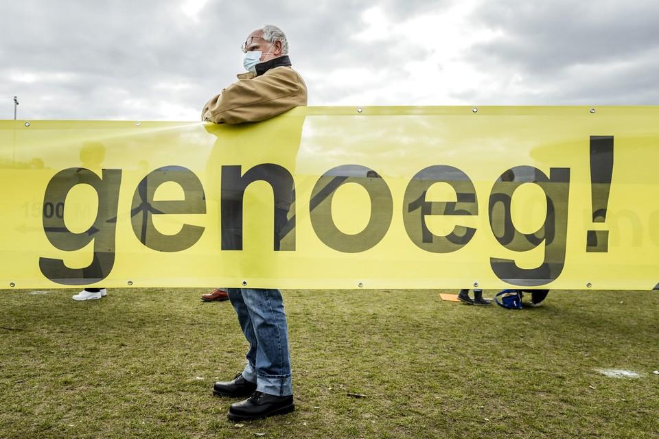 Protest tegen windmolens in Amsterdam afgelopen maart.