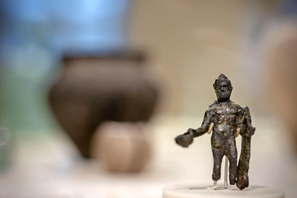 Een heilig beeldje dat afkomstig is uit het Romeinse fort bij Velsen.