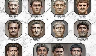 Hoofden van Romeinse keizers gereconstrueerd en op de foto gezet