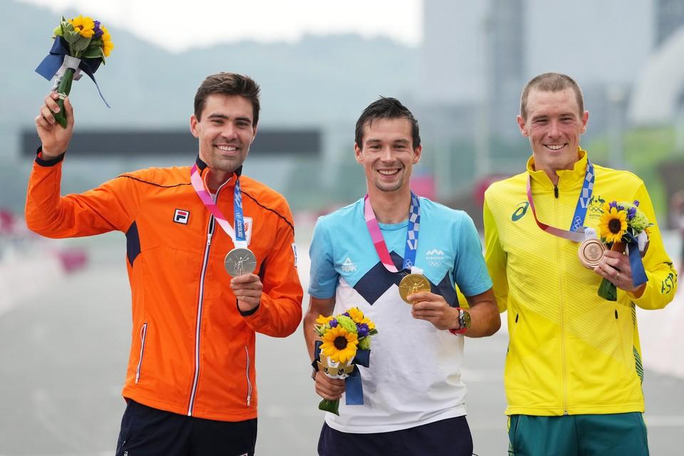 Tom Dumoulin (zilver), Primoz Roglic (goud) en Rohan Dennis (brons).
