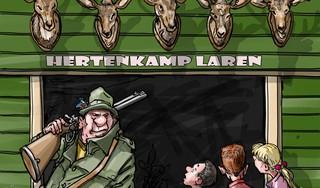 Hertjes kijken in het nu o zo fijne hertenkamp Laren | cartoon Frank Muntjewerf
