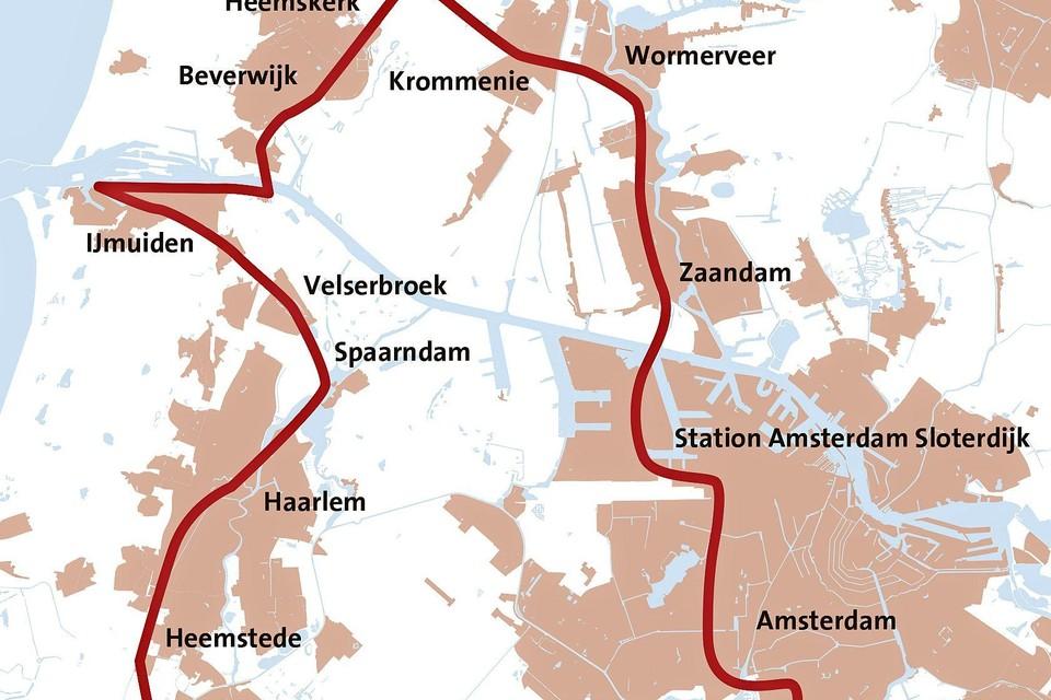 Het mogelijke tracé voor sneltrams in de regio.