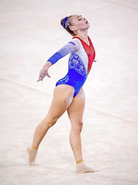 Eythora Thorsdottir op de vloer tijdens de podiumtraining. ANP ROBIN VAN LONKHUIJSEN