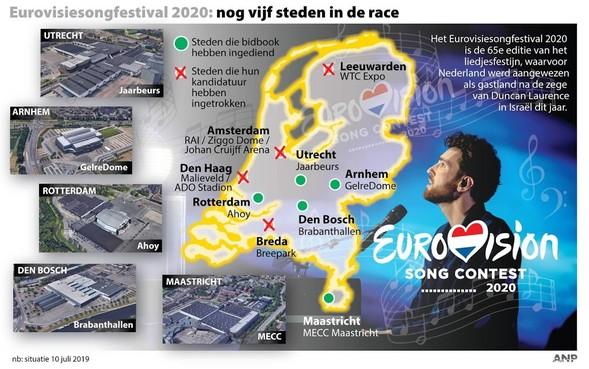 Drie steden vallen af in race om songfestival