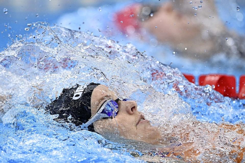 Sharon Van Rouwendaal op 200 meter rugslag in Tokio.